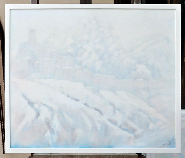 Nevicata a Perticara - Olio su tela 60x80