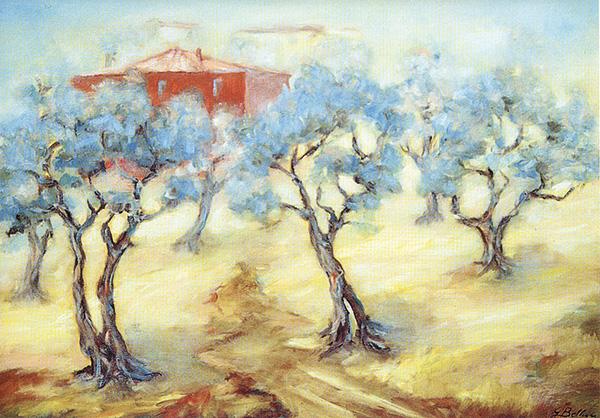 La casa rossa fra gli ulivi - Olio su tela 70x50