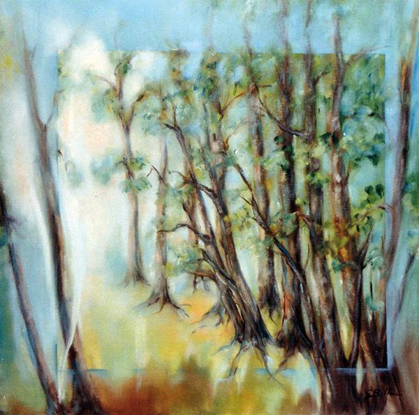 Luci nel bosco - Olio su tela 50x50