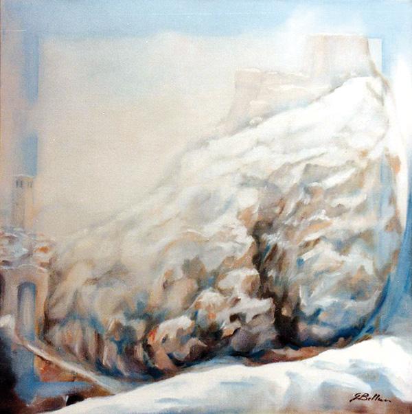 Neve a San Leo - Olio su tela 50x50