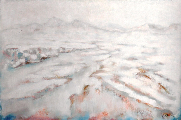 Nevicata sul Marecchia - Olio su tela 60x40