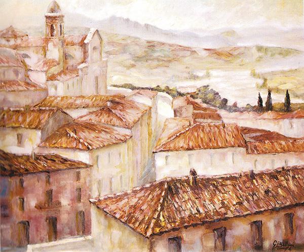 Tetti a Verucchio - Olio su tela 70x60