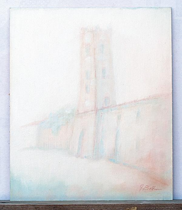 Torre civica Saludecio - Olio su tela 25x30