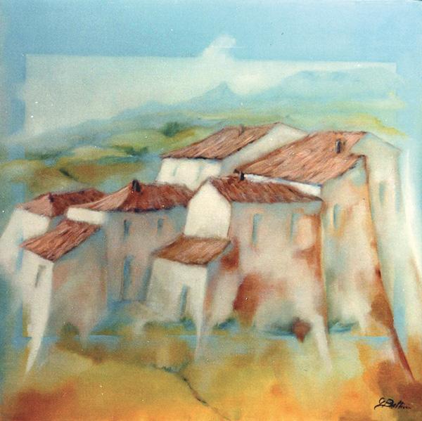 Vecchio borgo Montefeltro - Olio su tela 50x50